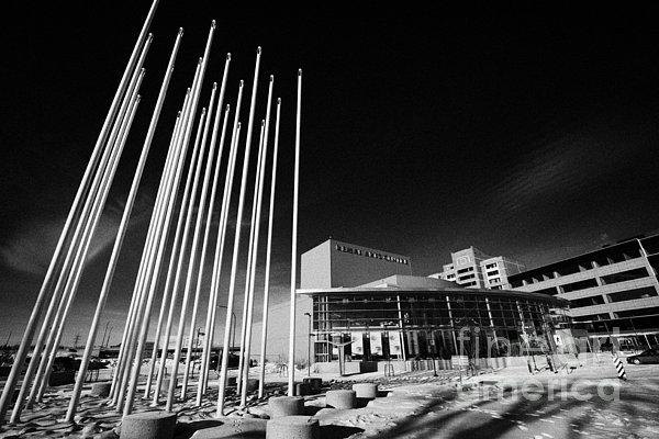 Downtown Photograph - prairie wind sculpture outside the remai arts centre Saskatoon Saskatchewan Canada by Joe Fox