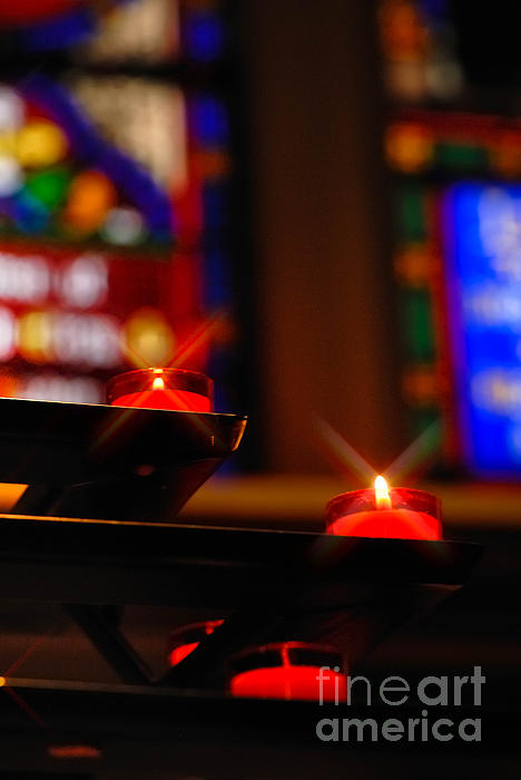 Candle Photograph - Prayer Candles Trinity Cathedral Pittsburgh by Amy Cicconi
