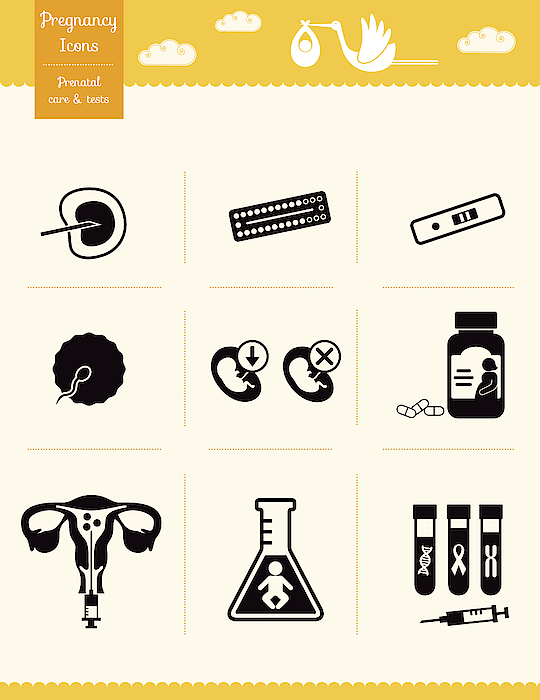 Pregnancy Icons - Prenatal Care And Tests Drawing by Si-Gal
