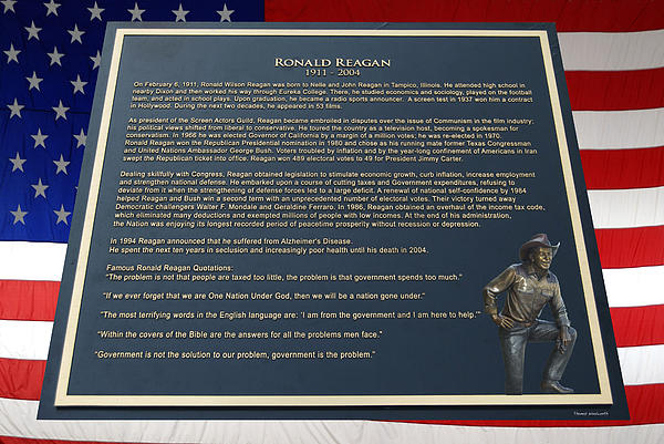 Il Photograph - President Ronald Reagan Plaque by Thomas Woolworth