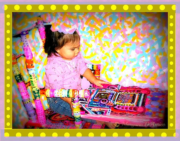 Greeting Card Painting - Princess Bella In The Original Magical Rocking Chair by Maryann  DAmico