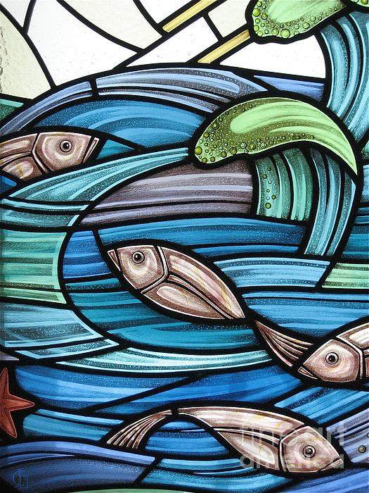 Stained Glass Glass Art - Protection Island Seascape by Gilroy Stained Glass