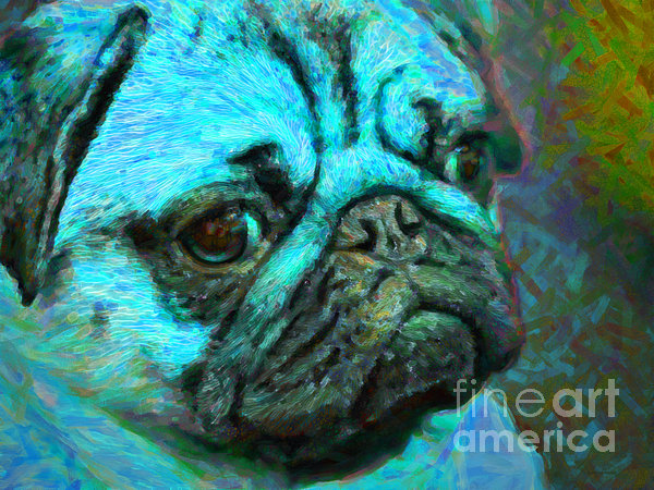 Animal Photograph - Pug 20130126v5 by Wingsdomain Art and Photography