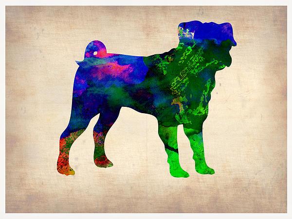 Pug Painting - Pug Watercolor  by Naxart Studio