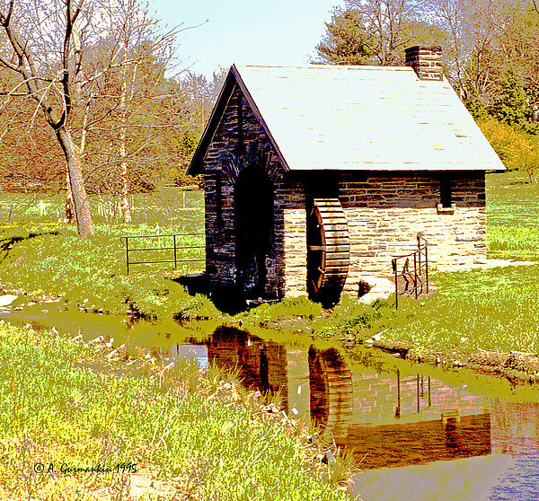 Pump House Photograph - Pump House And Water Wheel In Autumn Digital Art by A Gurmankin