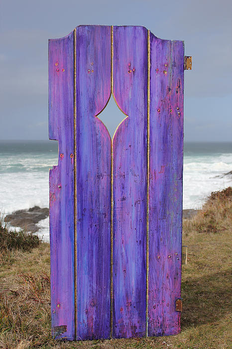 Gold Painting - Purple Gateway To The Sea  by Asha Carolyn Young