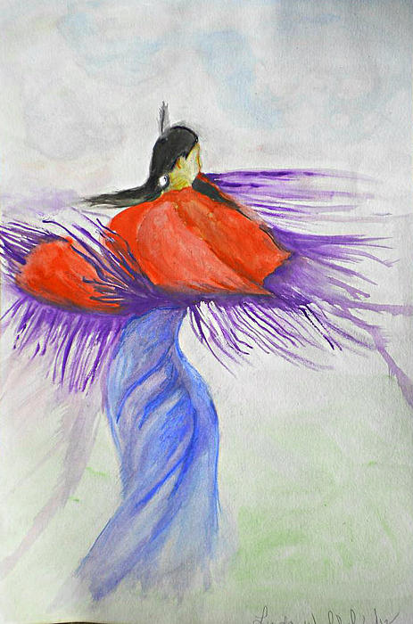 Native American Painting - Purple Shawl Dancer by Linda Waidelich