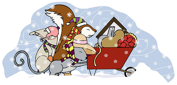 Snow Digital Art - Pushing The Wheelbarrow by Christy Beckwith