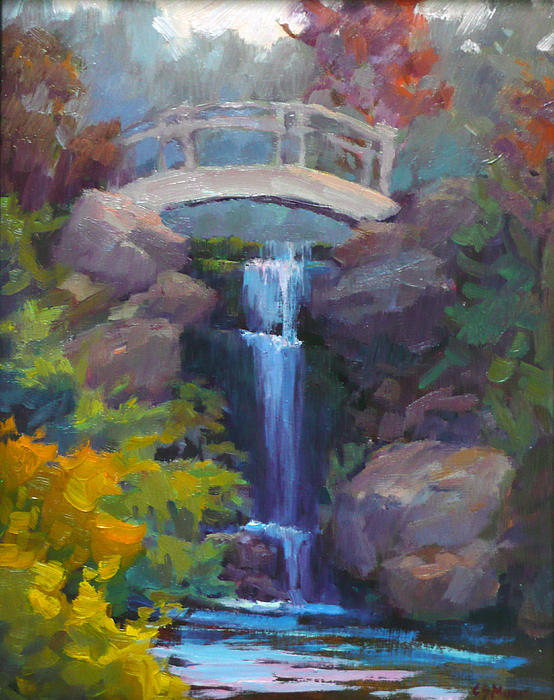 Waterfall Painting - Quarry Hills Waterfall by Carol Smith Myer