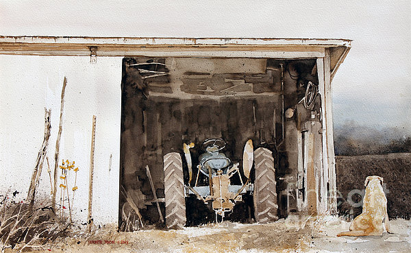 An Old Tractor Sets In A Shed On Farm In The Midwest As The Family Dog Surveys The Newly Plowed Field Nearby. Painting - Quitting Time by Monte Toon