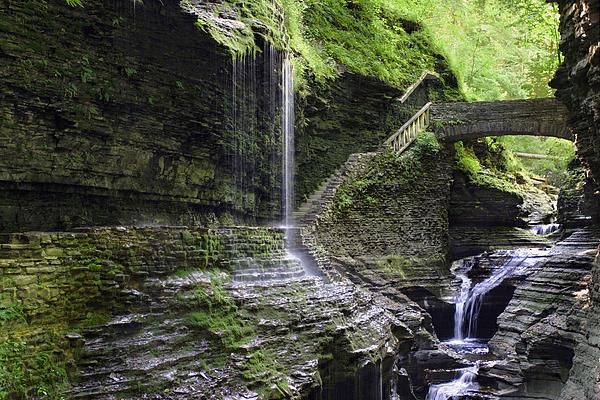 Water Photograph - Rainbow Falls And Stone Bridge by Gene Walls