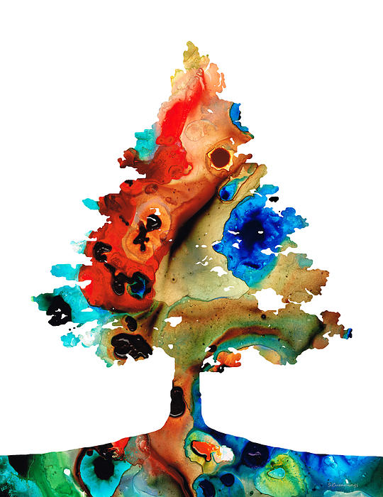 Tree Painting - Rainbow Tree 2 - Colorful Abstract Tree Landscape Art by Sharon Cummings