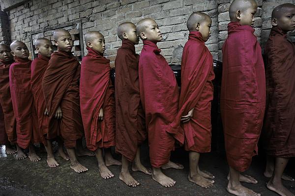 Southeast Asia Photograph - Rangoon Monks 1 by David Longstreath