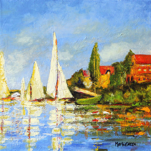 Monet Painting - Recreation Of Boating At Argenteuil by Marti Green