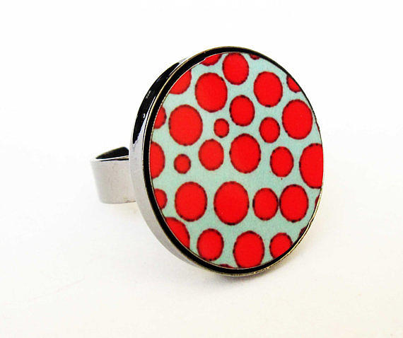 Red Ring Jewelry - Red And Turquoise Dots Ring by Rony Bank