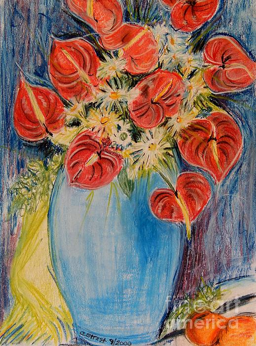 Flowers Pastel - Red Calla Lilies by Caroline Street