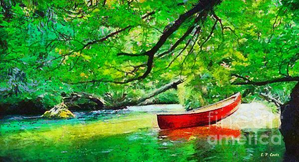 Water Painting - Red Canoe by Elizabeth Coats