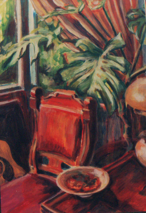 Window Painting - Red Chair In The Window by Ellen Howell