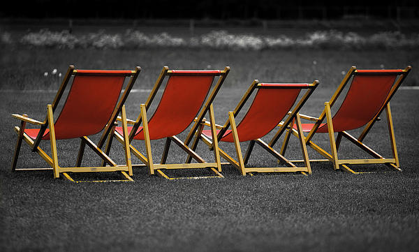 Lounge Photograph - Red Deck Chairs by Mikhail Pankov