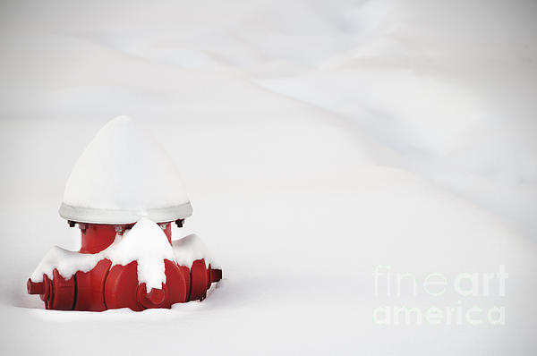 Outdoor Photograph - Red Fired Hydrant Buried In The Snow. by Oscar Gutierrez