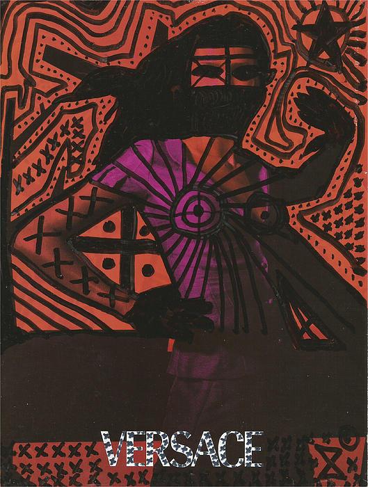 Red Medusa Pop Graffiti Model Drawing by Edward X