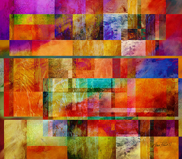 Abstract Digital Art - Red Squares Abstract Art by Ann Powell