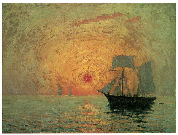 Red Sun Painting - Red Sun by Maxime Maufra