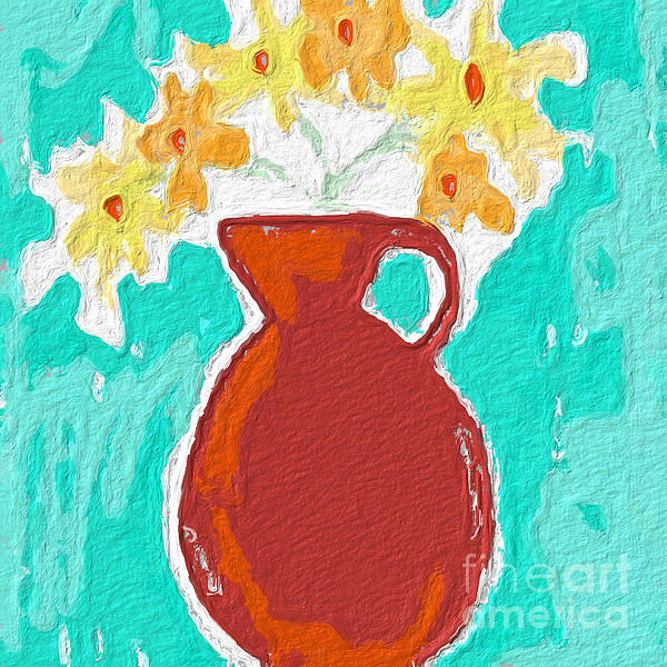 Flowers Painting - Red Vase Of Flowers by Linda Woods