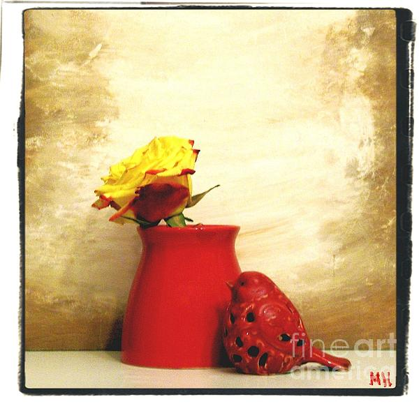 Photo Photograph - Red Vase Red Bird And Red Yellow Rose by Marsha Heiken