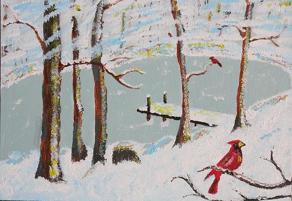 Pond Painting - Redbird Winter by Harold Greer