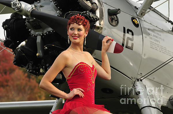 Pin-up Girls Photograph - Redhead Pin-up Girl In 1940s Style by Christian Kieffer