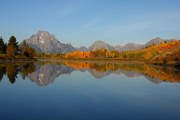 Grand Photograph - Reflection Of Mount Moran In Autumn by Jetson Nguyen