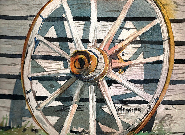 Wagon Wheel Painting - Relic Of The Past by Spencer Meagher