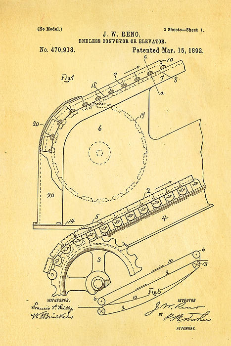 Construction Photograph - Reno Escalator Patent Art 1892 by Ian Monk