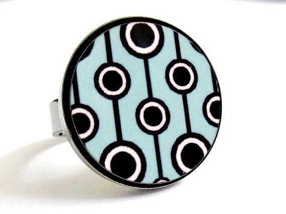 Black Ring Jewelry - Retro Dreams In Turquoise Ring by Rony Bank