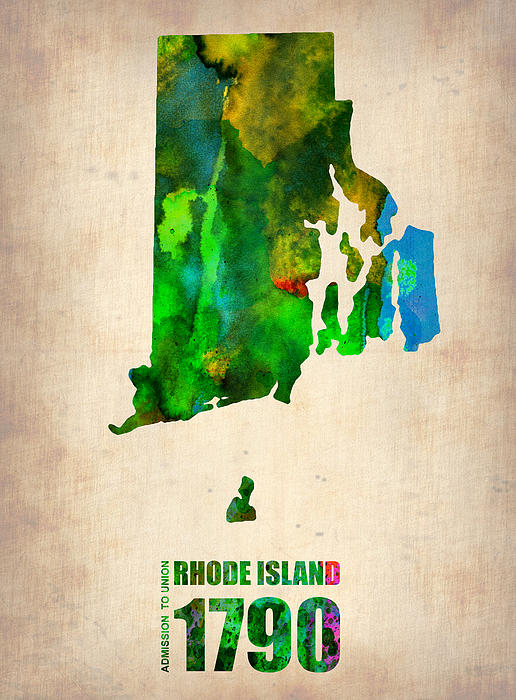 Rhode Island Digital Art - Rhode Island Watercolor Map by Naxart Studio