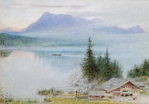 Chalet Drawing - Righi by Albert Goodwin