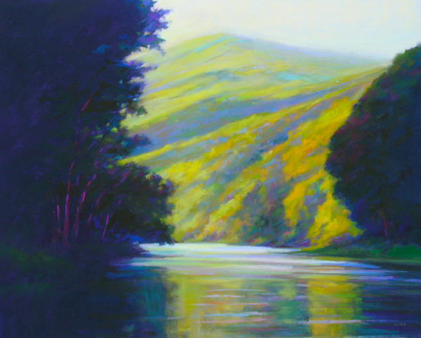 River Painting - River Bend by Ed Chesnovitch