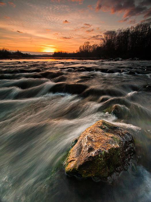 Landscape Photograph - River Sunset by Davorin Mance