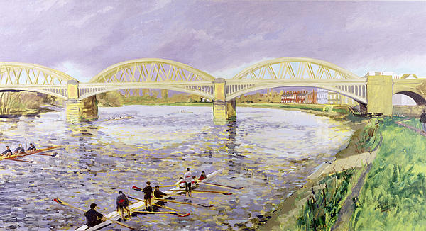 Canoeing Painting - River Thames At Barnes by Sarah Butterfield