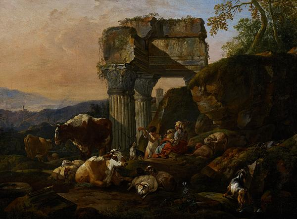 Roman Painting - Roman Landscape With Cattle And Shepherds by Johann Heinrich Roos