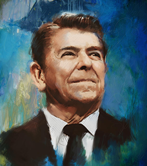 Rancho Del Cielo Painting - Ronald Reagan Portrait 6 by Corporate Art Task Force