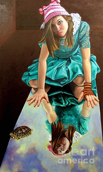 Girl Painting - Room With A View by Shelley Laffal