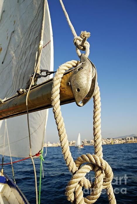 Blue Photograph - Rope On Sailboat Mast During Navigation by Sami Sarkis