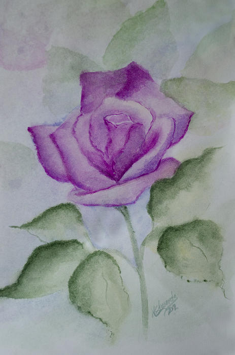 Flower Painting - Rose 3 by Nancy Edwards