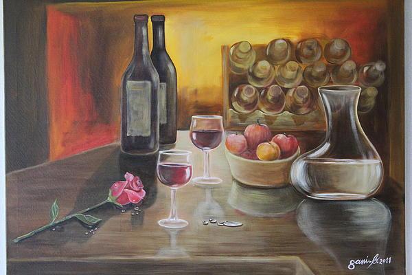 Still Life Painting - Rose And Wine by Gani Banacia