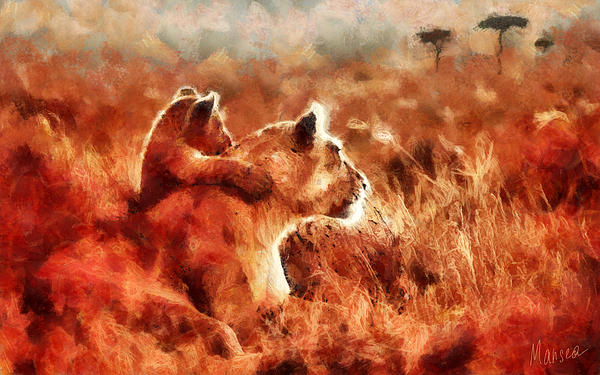 Lion Painting - Royal Family by Marina Likholat