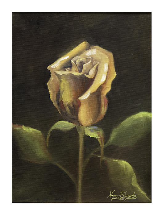 Flower Painting - Royal Gold Bud by Nancy Edwards