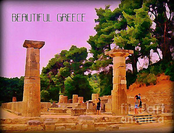Ruins At Olympus Greece Painting - Ruins At Olympus Greece by John Malone