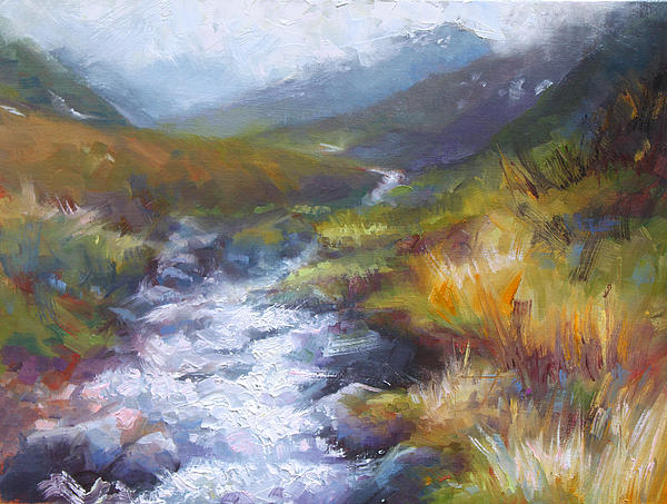 Landscape Painting - Running Down - Landscape View From Hatcher Pass by Talya Johnson